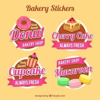 Coleção de adesivos de padaria em estilo plano