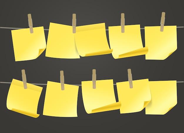 Coleção de adesivos de papel na corda. modelo para um texto