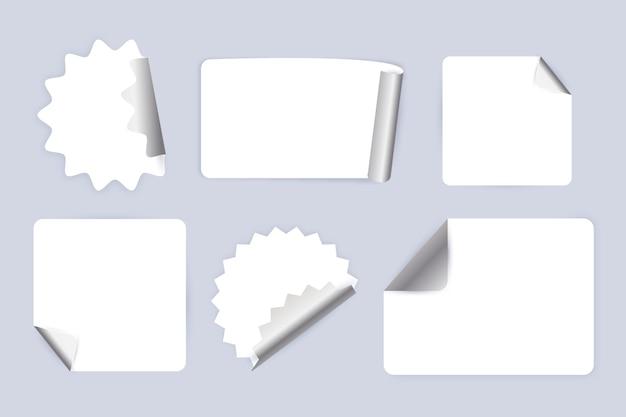 Coleção de adesivos de papel realistas