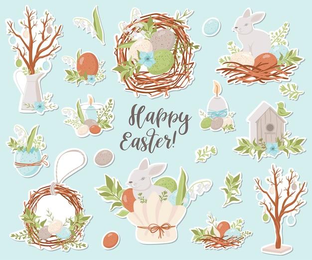Coleção de adesivos de páscoa feliz. ilustração para design de planejadores, notebooks e muito mais