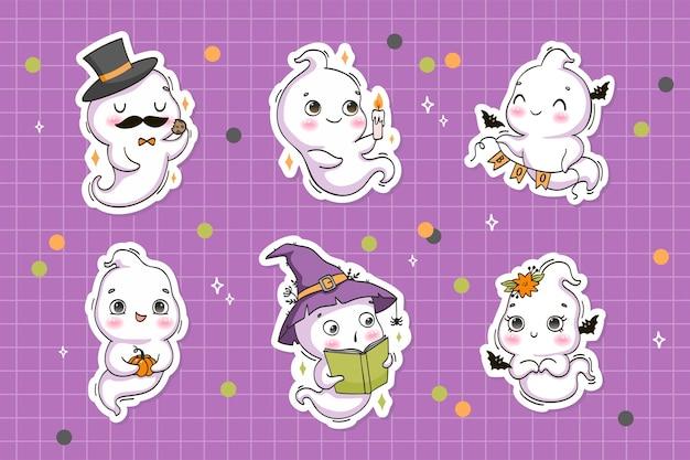 Coleção de adesivos de personagens de desenhos animados de fantasmas de halloween fofos do kawaii em estilo desenhado à mão