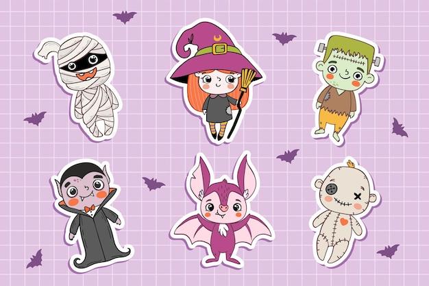 Coleção de adesivos de personagens de desenhos animados de monstros fofos do dia das bruxas em estilo desenhado à mão