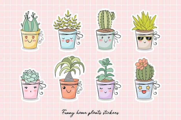 Coleção de adesivos de personagens de desenhos animados de plantas caseiras engraçadas