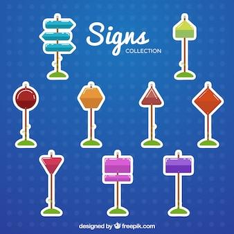 Coleção de adesivos de sinais coloridos em design plano