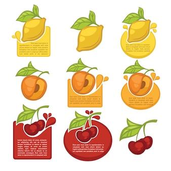 Coleção de adesivos de suco e símbolos de frutas