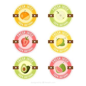 Coleção de adesivos de suco fresco em cores pastel