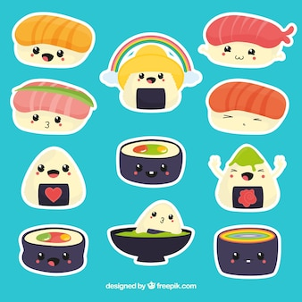 Coleção de adesivos de sushi