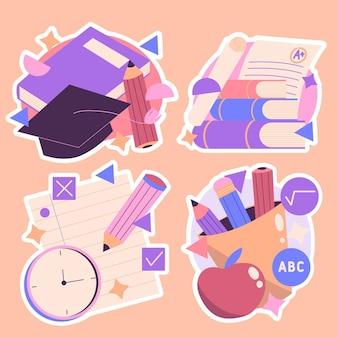 Coleção de adesivos de tempo de estudo