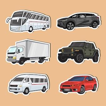 Coleção de adesivos de veículos usados em terra