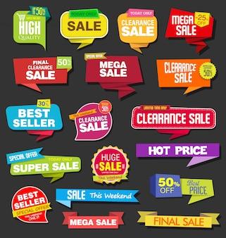 Coleção de adesivos de venda colorida moderna