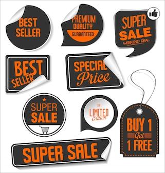 Coleção de adesivos de venda moderna