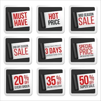 Coleção de adesivos de venda promocional