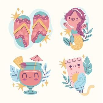 Coleção de adesivos de verão de desenho animado