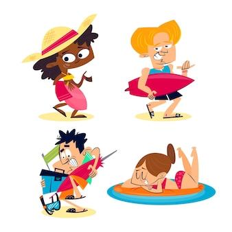 Coleção de adesivos de verão retrô dos desenhos animados