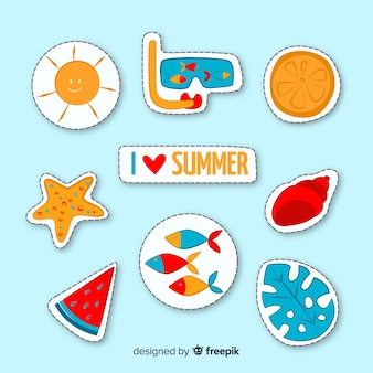 Coleção de adesivos de verão