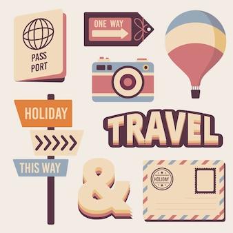Coleção de adesivos de viagem em estilo retro