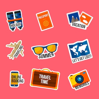 Coleção de adesivos de viagem estilo anos 70