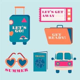 Coleção de adesivos de viagem no estilo dos anos 70
