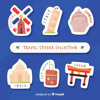 Coleção de adesivos de viagem plana