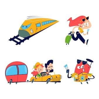 Coleção de adesivos de viagem retrô de desenhos animados