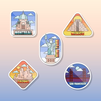 Coleção de adesivos de viagem