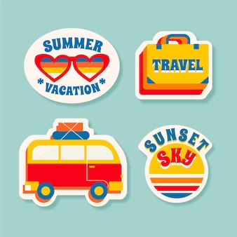 Coleção de adesivos de viagens / férias no estilo dos anos 70