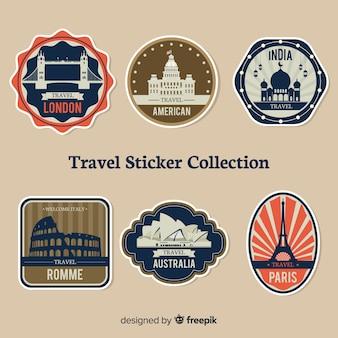 Coleção de adesivos de viagens vintage