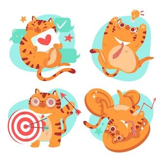 Coleção de adesivos desenhados à mão de bernie, o gato