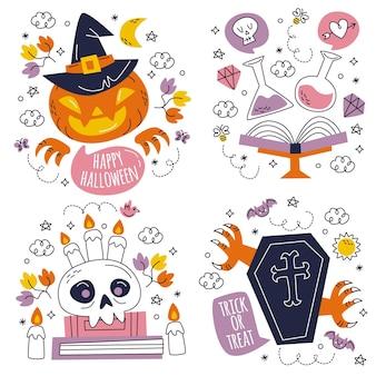 Coleção de adesivos desenhados à mão para o dia das bruxas
