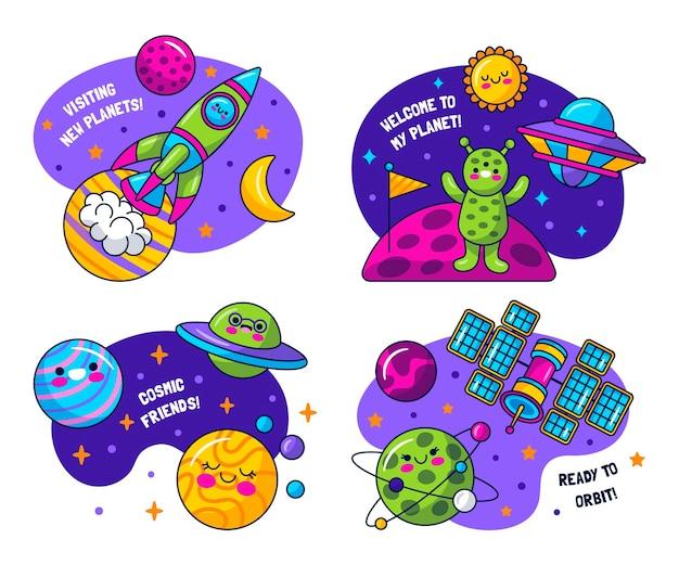 Coleção de adesivos do universo ingênuo