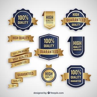 Coleção de adesivos dourados de produtos de qualidade