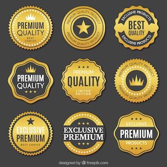Coleção de adesivos dourados de qualidade