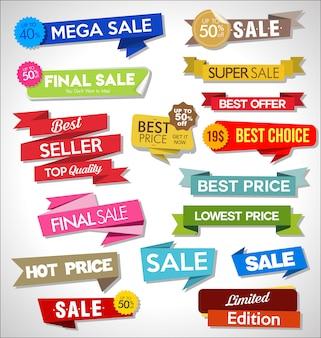 Coleção de adesivos e etiquetas coloridas de venda