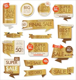 Coleção de adesivos e etiquetas de venda dourada