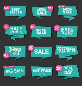 Coleção de adesivos e etiquetas de venda verde