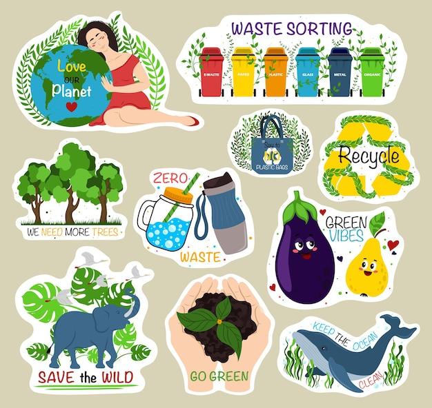 Coleção de adesivos ecológicos de adesivos ecológicos com slogans amo nosso planeta triagem, precisamos de mais reciclagem zero desperdício vibrações verdes tornam-se verdes mantêm o oceano