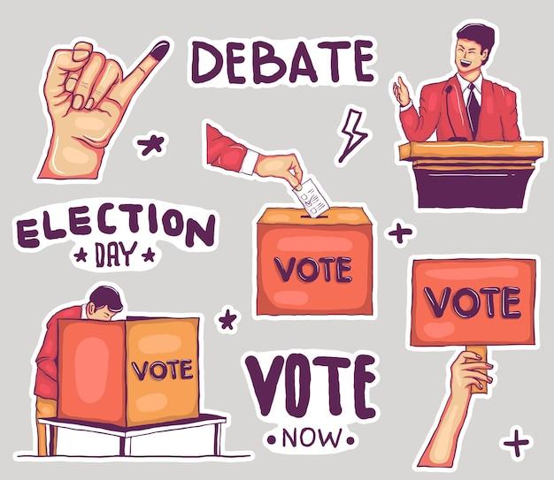 Coleção de adesivos eleitorais coloridos desenhados à mão