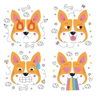 Coleção de adesivos emoticons de cachorro desenhados à mão