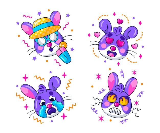 Coleção de adesivos emoticons kawaii