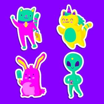 Coleção de adesivos engraçados com cores ácidas