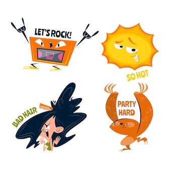 Coleção de adesivos engraçados de desenhos animados retrô