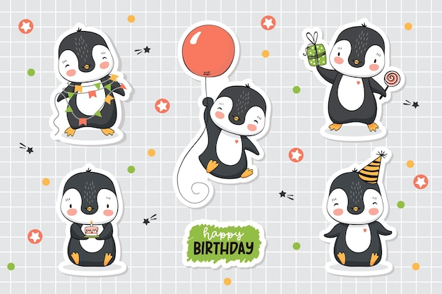 Coleção de adesivos engraçados de pinguins adesivos de aniversário