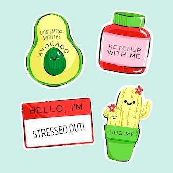 Coleção de adesivos engraçados desenhada com cores ácidas