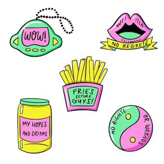Coleção de adesivos engraçados desenhados à mão com cores ácidas