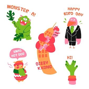 Coleção de adesivos engraçados desenhados à mão
