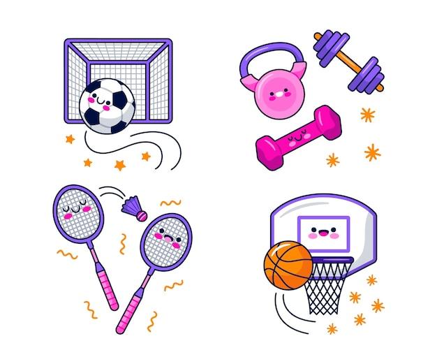 Coleção de adesivos esportivos kawaii