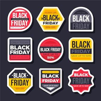 Coleção de adesivos flat black friday