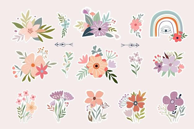 Coleção de adesivos florais com arranjo de flores decorativas e boho arco-íris