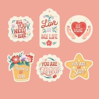 Coleção de adesivos florais de amor