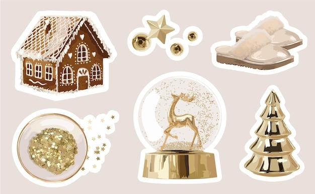 Coleção de adesivos fofos de férias de inverno com elementos de decoração de natal